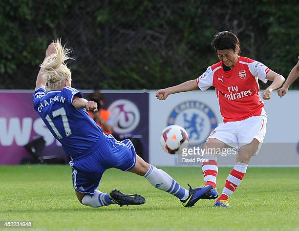 Yakuri Kinga of Arsenal under pressure from Katie Chapman of Chelsea during the WSL match between Chelsea Ladies and Arsenal Ladies on July 16 2014...