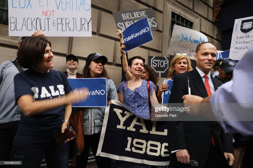 Protestors Rally Against Brett Kavanaugh Nomination Outside Yale Club In NYC : News Photo