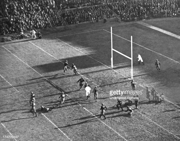 Yale attempting a foward pass during the game against Harvard at Soldiers Field Boston Massachussetts November 21 1925 The game ended in a scoreless...