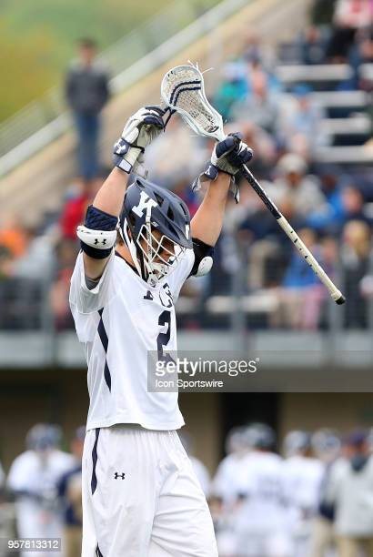Yale Bulldogs attackman Ben Reeves celebrates a goal during the first round of the NCAA Division I Men's Championship match between UMass Minutemen...