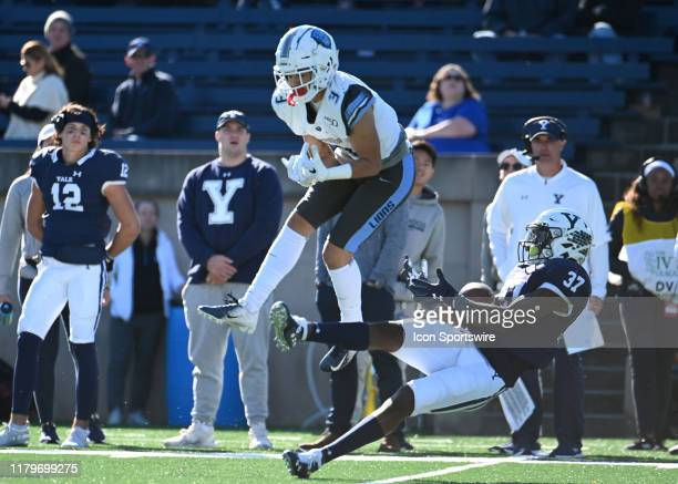 Yale Bulldogs defensive back Dathan Hickey makes an attempt to intercept the ball during the game as the Columbia Lions take on the Yale Bulldogs on...