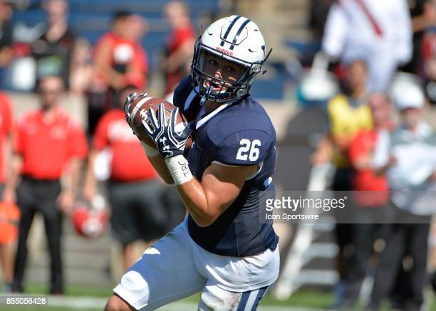 Yale Bulldogs defensive back Hayden Carlson receives the ball during a college football game between the Yale Bulldogs and the Cornell Big Red on...