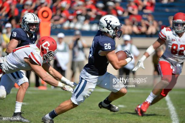 Yale Bulldogs defensive back Hayden Carlson runs the ball up the field during a college football game between the Yale Bulldogs and the Cornell Big...