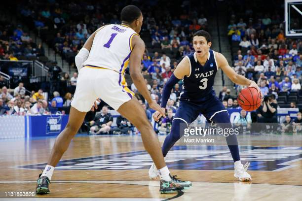 Yale Bulldogs guard Alex Copeland dribbles the ball as LSU Tigers guard Javonte Smart defends in the first round of the 2019 NCAA Photos via Getty...
