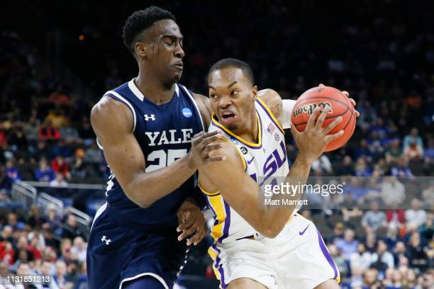 Yale Bulldogs guard Miye Oni defends LSU Tigers guard Javonte Smart in the first round of the 2019 NCAA Photos via Getty Images Men's Basketball...