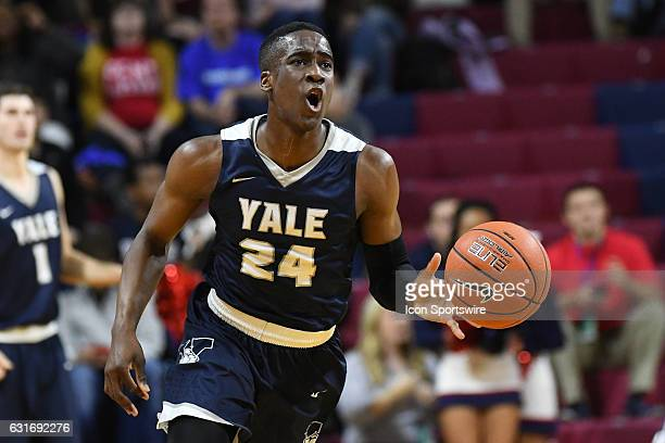 Yale Bulldogs guard Miye Oni handles the ball during a NCAA basketball game between the Yale Bulldogs and the Penn Quakers on January 13 at the...