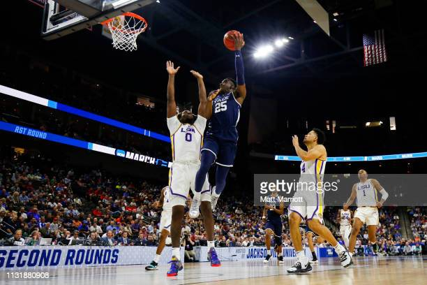 Yale Bulldogs guard Miye Oni shoots the ball as LSU Tigers forward Naz Reid defends in the first round of the 2019 NCAA Photos via Getty Images Men's...