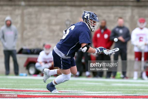 Yale Bulldogs TD Ierlan in action during the college lacrosse match between Yale Bulldogs and Harvard Crimson on April 27 at Harvard Stadium in...