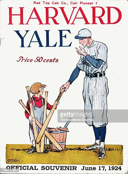 A Yale College player is the cover illustration for this program for the annual contest between Harvard and Yale printed in New Haven Connecticut in...