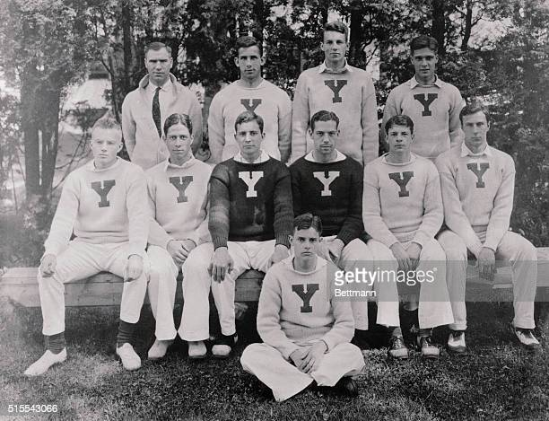 Yale crew 1924 at Gales Ferry Seated Alfred Lindley Alfred Wilson Captain James Rockefeller Lester Miller Frederich Sheffield Leonard Carpenter...
