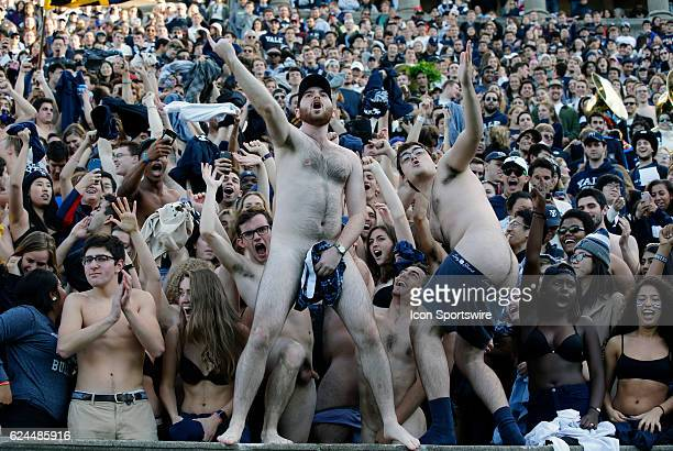 Yale fans taunt Harvard during the 133rd annual playing of 'The Game' between the Harvard University Crimson and the Yale University Bulldogs on...