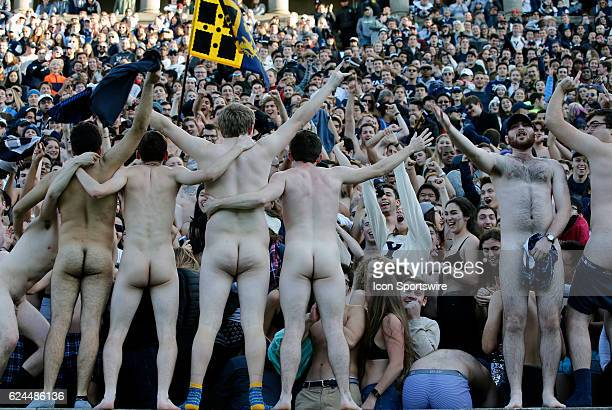 Yale fans taunt Harvard during the 133rd annual playing of The Game between the Harvard University Crimson and the Yale University Bulldogs on...