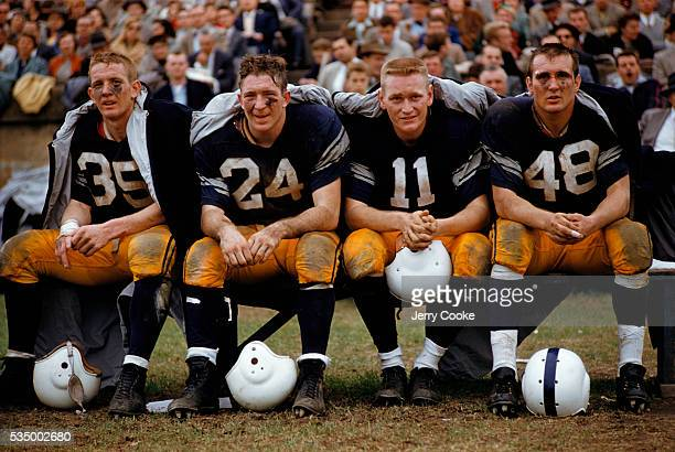 Yale Football Players on the Bench During Game