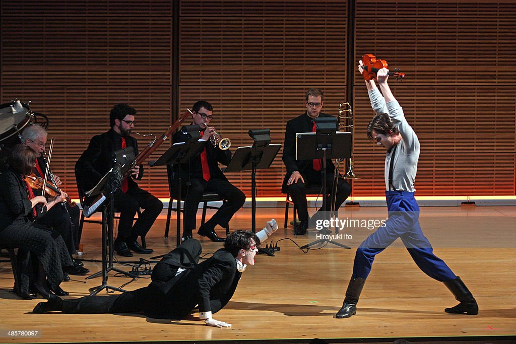 Yale in New York presents Stravinsky's 'The Soldier's Tale' at Zankel Hall on Sunday night, April 6, 2014. This image: From left, James Cusati-Moyer and Tom Pecinka. (Photo by Hiroyuki Ito/Getty Images) : News Photo