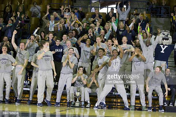 Yale players and fans react to drawing Baylor in the NCAA tournament during the The Ivy League champion Yale men's basketball team Selection Sunday...