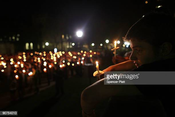 Yale student Gabriel Goffman attends a candlelight vigil for fellow student Annie Le whose body was found behind a wall yesterday night in a...
