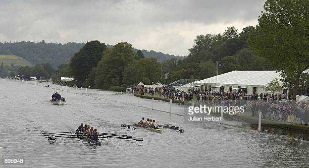 Yale University of USA lead King's College London home in a heat of The Temple Challenge Cup on the 1st day of The Royal Regatta at Henley On Thames...