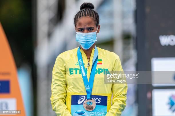 Yalemzerf Yehualaw of Ethiopia with a bronze medal of 2020 IAAF World Half Marathon Championships in Gdynia