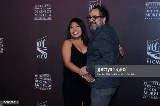 Yalitza Aparicio and Eugenio Caballero pose during the red carpet of Netflix film 'Roma' directed by Alfonso Cuaron as part of Festival Internacional...