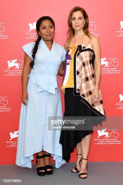 Yalitza Aparicio and Marina de Tavira attend 'Roma' photocall during the 75th Venice Film Festival at Sala Casino on August 30 2018 in Venice Italy