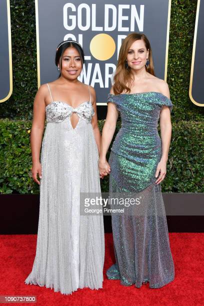 Yalitza Aparicio and Marina De Tavira attend the 76th Annual Golden Globe Awards held at The Beverly Hilton Hotel on January 06 2019 in Beverly Hills...