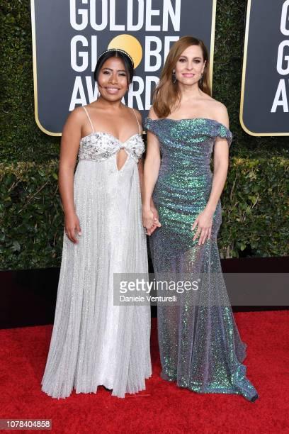 Yalitza Aparicio and Marina de Tavira attends the 76th Annual Golden Globe Awards at The Beverly Hilton Hotel on January 6 2019 in Beverly Hills...