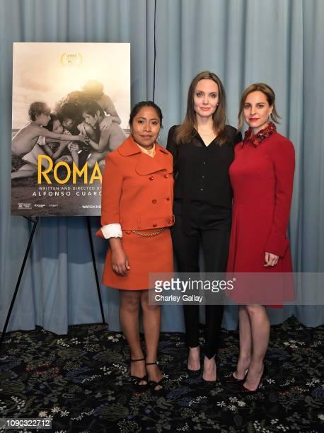 Yalitza Aparicio Angelina Jolie and Marina De Tavira attend the ROMA Tastemakers Screening and Reception at San Vicente Bungalows on January 05 2019...