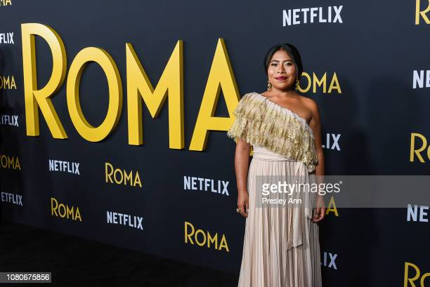 Yalitza Aparicio attends Los Angeles Premiere Of Alfonso Cuaron's 'Roma' at American Cinematheque's Egyptian Theatre on December 10 2018 in Hollywood...