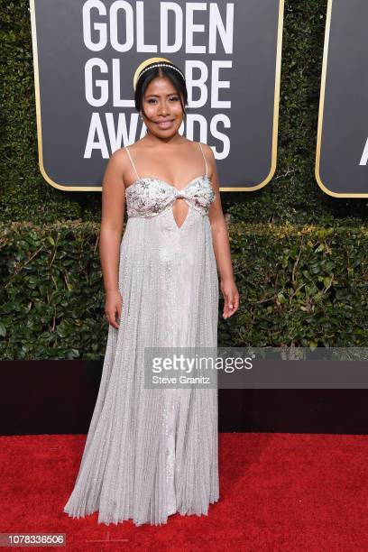 Yalitza Aparicio attends the 76th Annual Golden Globe Awards at The Beverly Hilton Hotel on January 6 2019 in Beverly Hills California