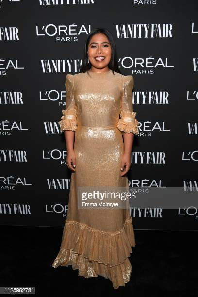 Yalitza Aparicio is seen as Vanity Fair and L'Oréal Paris Celebrate New Hollywood on February 19, 2019 in Los Angeles, California.
