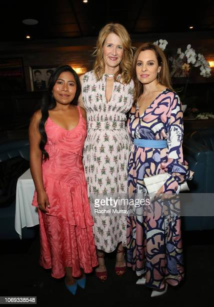 Yalitza Aparicio, Laura Dern and Marina De Tavira attend the the 'Roma' Tastemakers Reception at Craig's on November 18, 2018 in Los Angeles,...