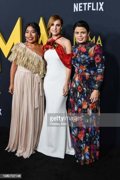 Yalitza Aparicio Marina de Tavira and Gabriela Rodriguez attend Los Angeles Premiere Of Alfonso Cuaron's Roma at American Cinematheque's Egyptian...