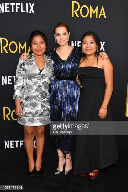 Yalitza Aparicio Marina De Tavira and Nancy García attend the Roma New York screening at DGA Theater on November 27 2018 in New York City