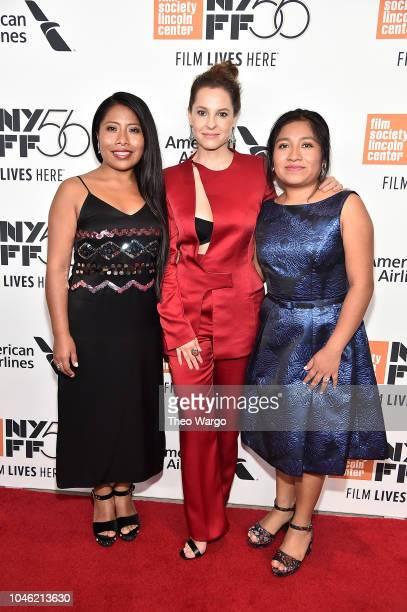 """Yalitza Aparicio, Marina de Tavira and Nancy Garcia attend the """"ROMA"""" premiere during the 56th New York Film Festival at Alice Tully Hall, Lincoln..."""