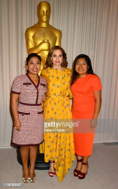 Yalitza Aparicio Marina de Tavira and Nancy Garcia Garcia attend the 91st Oscars Nominee Champagne Tea Reception at Claridges Hotel on February 08...