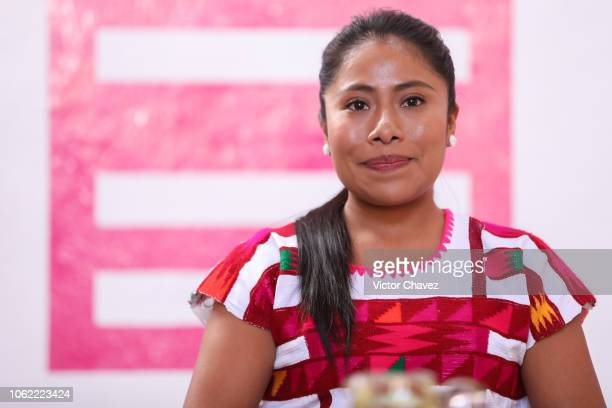 Yalitza Aparicio smiles during the press conference and screeing of the new Alfonso Cuaron's and Netflix film 'Roma' as part of the Oaxaca Film...
