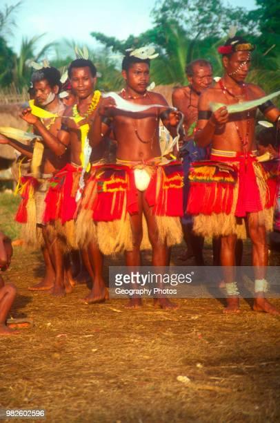Yam festival dancers Kiriwina Trobriand Islands Papua New Guinea