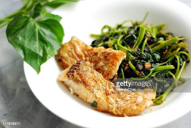 Yam leaves  with panfried glass