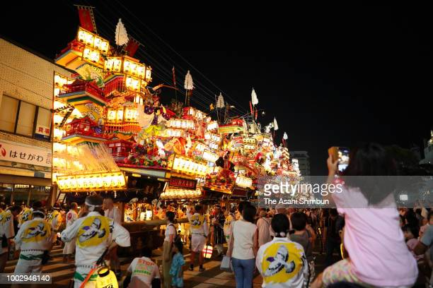 9 Yamaboko floats line up during the 'Shudan Kaomise' ahead of the Hita Gion Festival on July 19 2018 in Hita Oita Japan The festival takes place on...