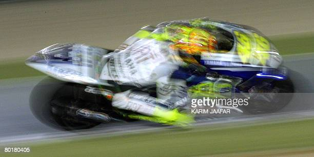 Yamaha ace Valentino Rossi of Italy races at the motoGP event at the Qatar Grand Prix in Doha on March 9 2008 Defending world champion Casey Stoner...