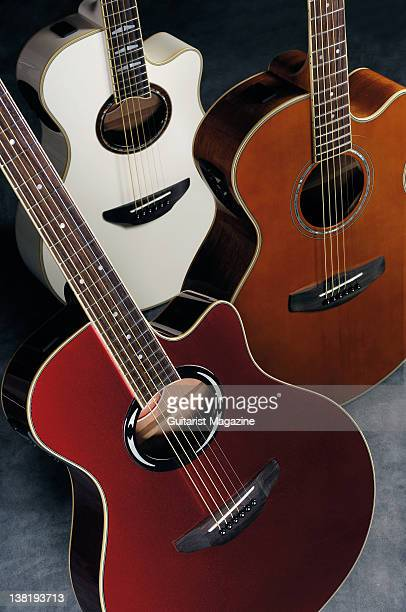 Yamaha APX1000 CPX700II and APX500II acoustic guitars During a studio shoot for Guitarist Magazine May 3 2011