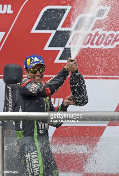 Yamaha biker Johann Zarco of France celebrates his second place at the podium of the MotoGP race of the Argentina Grand Prix at Termas de Rio Hondo...