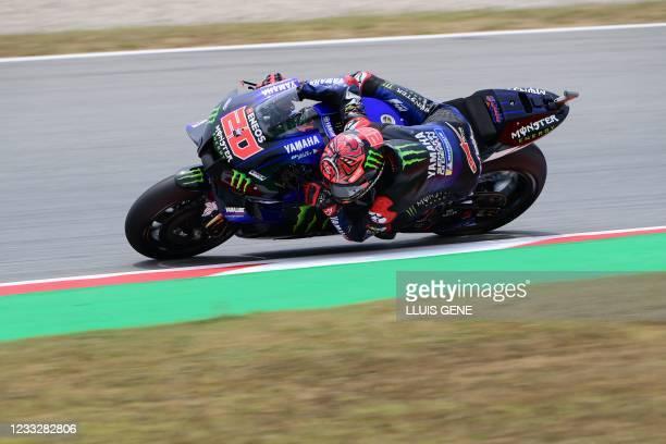 Yamaha French rider Fabio Quartararo rides during the fourth MotoGP free practice session of the Moto Grand Prix de Catalunya at the Circuit de...