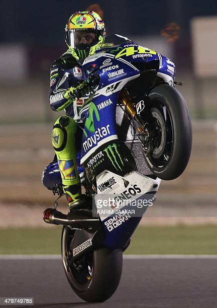 Yamaha MotoGP rider Valentino Rossi of Italy drives during a free practice session of the MotoGP World Championship at the Losail International...