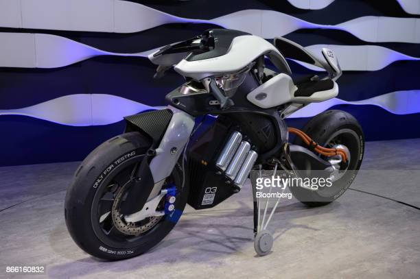 A Yamaha Motor Co Motoroid motorcycle stands displayed at the Tokyo Motor Show in Tokyo Japan on Wednesday Oct 25 2017 Japan's flagship automakers...