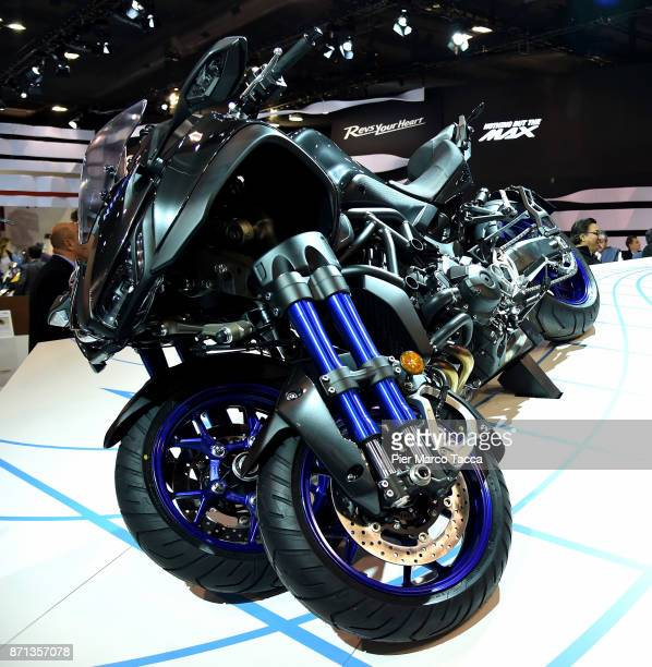 Yamaha Niken is displayed at EICMA 2017 the International Motorcycle Fair on November 7 2017 in Milan Italy