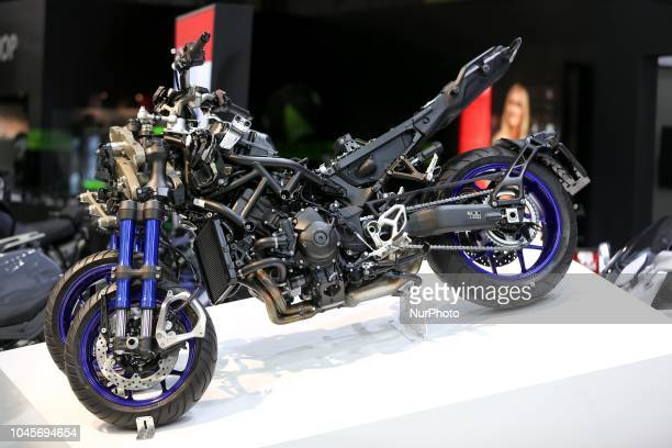 Yamaha Niken new threeheelers model is seen during the second day of the Paris Motor Show at Paris Expo Porte de Versailles on October 03 2018 in...