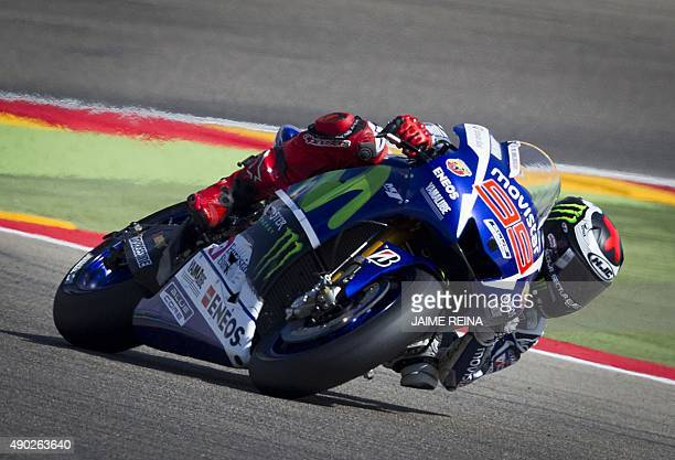 Yamaha Team's Spanish rider Jorge Lorenzo competes during the Moto GP race of the Aragon Grand Prix at the Motorland racetrack in Alcaniz on...