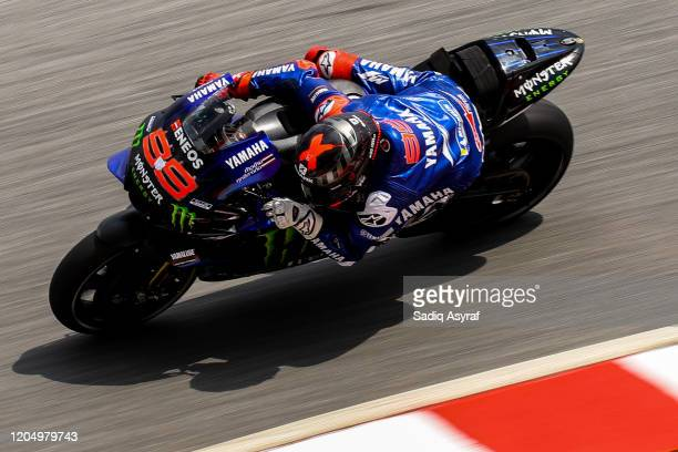 Yamaha Test Team Spanish rider Jorge Lorenzo takes a corner during the MotoGP preseason test at Sepang International Circuit on February 9 2020 in...