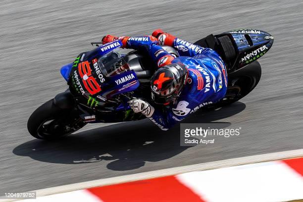 Yamaha Test Team Spanish rider Jorge Lorenzo takes a corner during the MotoGP pre-season test at Sepang International Circuit on February 9, 2020 in...